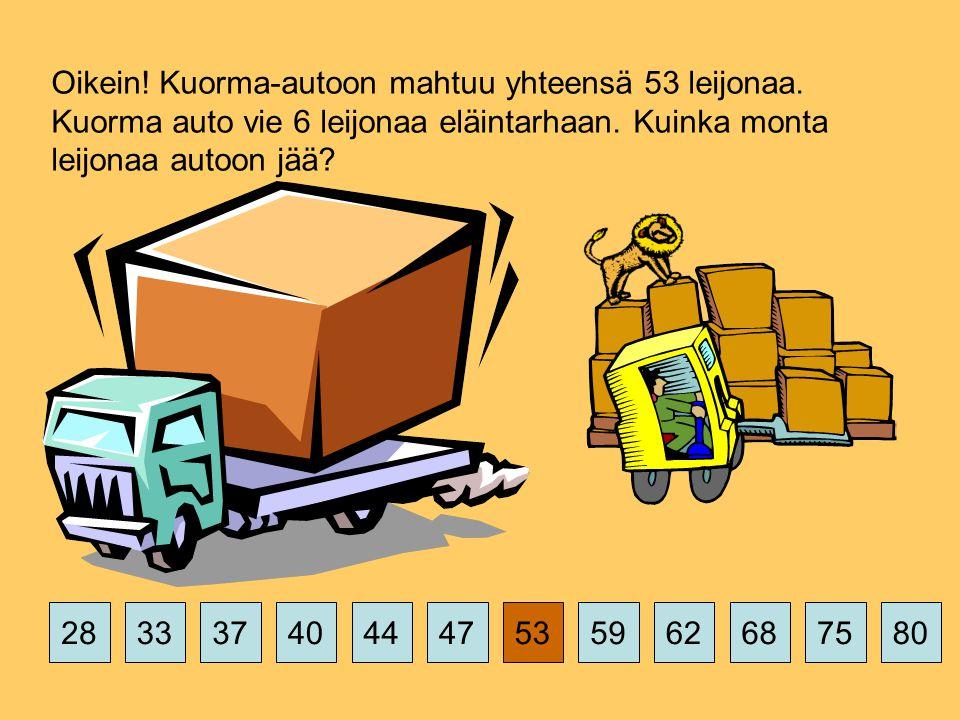 Oikein. Kuorma-autoon mahtuu yhteensä 53 leijonaa.