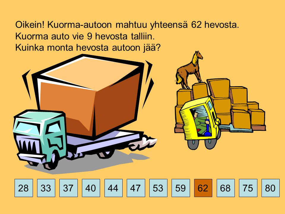 375359626875802844474033 Oikein. Kuorma-autoon mahtuu yhteensä 62 hevosta.