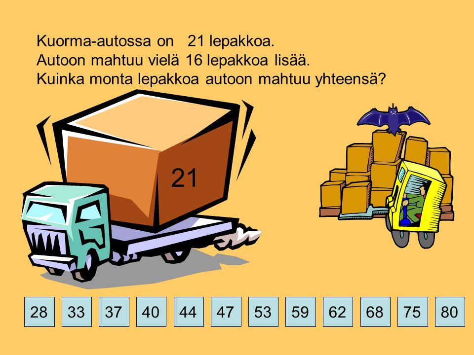 Kuorma-autossa on 21 lepakkoa. Autoon mahtuu vielä 16 lepakkoa lisää.
