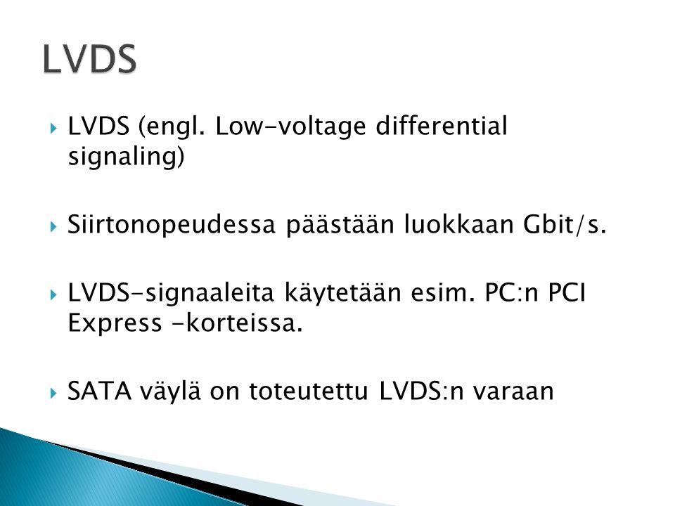  LVDS (engl. Low-voltage differential signaling)  Siirtonopeudessa päästään luokkaan Gbit/s.