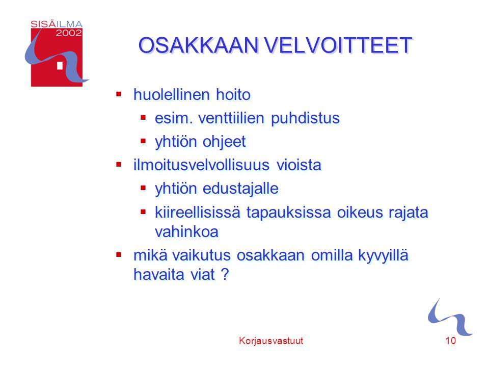 Sisäilmayhdistys ry Korjausvastuut10 OSAKKAAN VELVOITTEET  huolellinen hoito  esim.