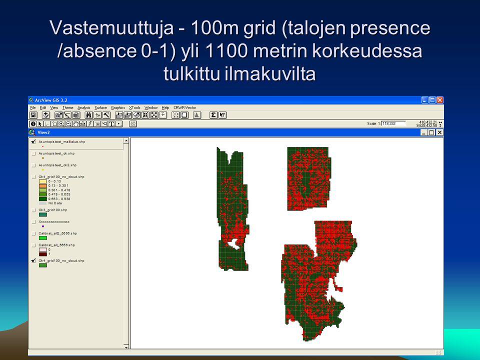 Vastemuuttuja - 100m grid (talojen presence /absence 0-1) yli 1100 metrin korkeudessa tulkittu ilmakuvilta