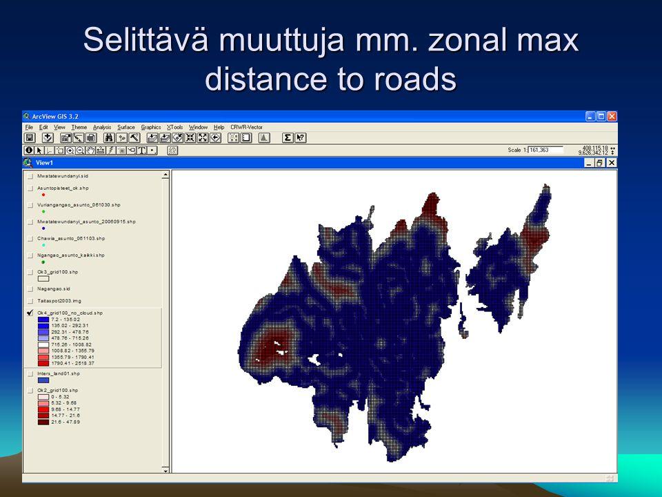 Selittävä muuttuja mm. zonal max distance to roads