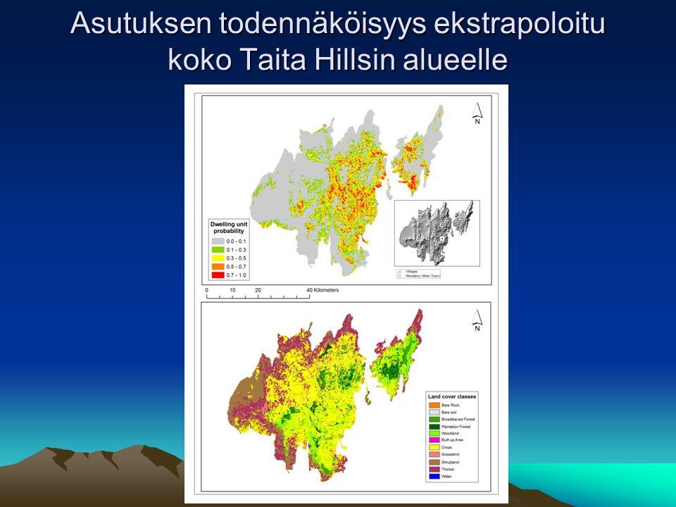 Asutuksen todennäköisyys ekstrapoloitu koko Taita Hillsin alueelle