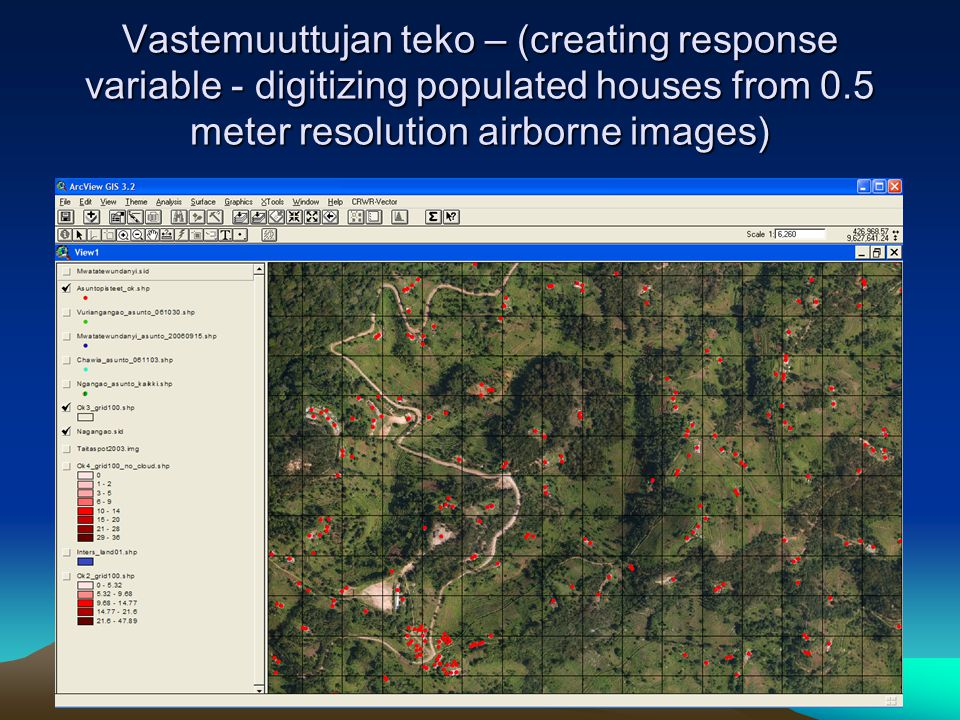 Vastemuuttujan teko – (creating response variable - digitizing populated houses from 0.5 meter resolution airborne images)