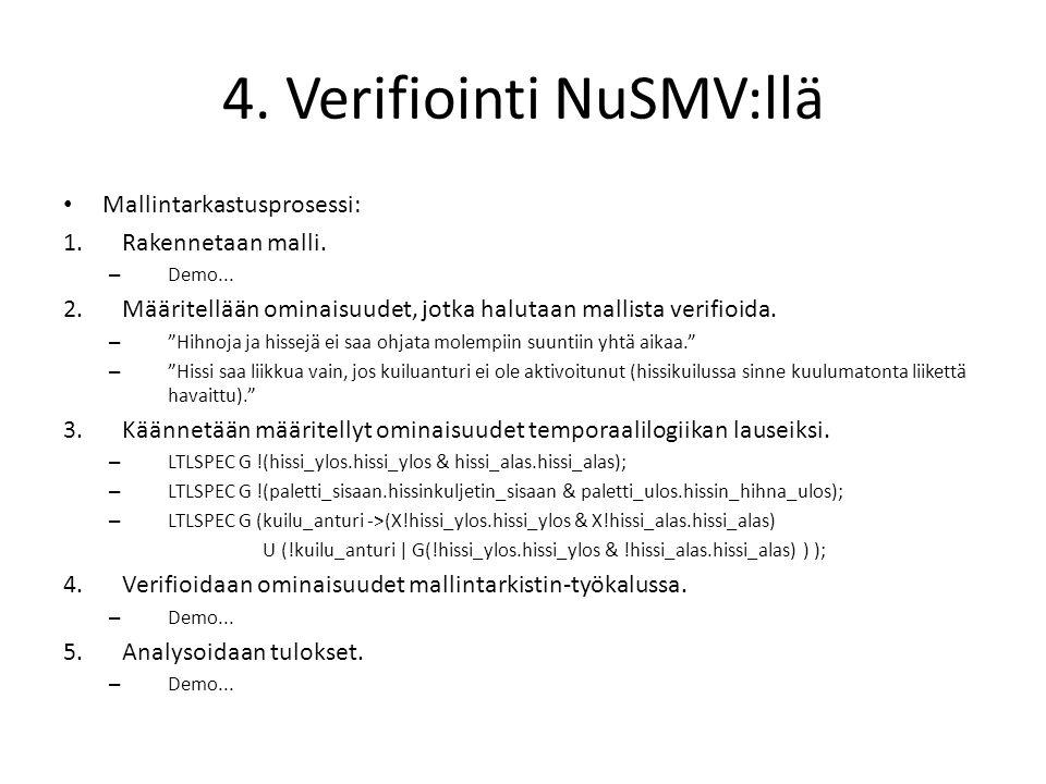 4. Verifiointi NuSMV:llä • Mallintarkastusprosessi: 1.Rakennetaan malli.
