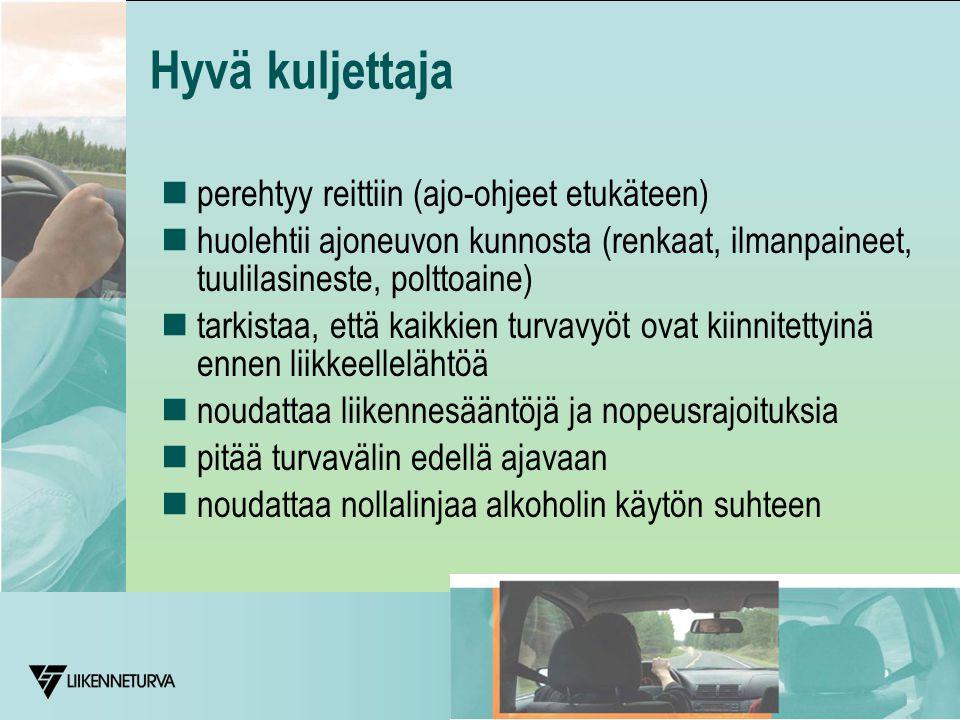 Hyvä kuljettaja  perehtyy reittiin (ajo-ohjeet etukäteen)  huolehtii ajoneuvon kunnosta (renkaat, ilmanpaineet, tuulilasineste, polttoaine)  tarkistaa, että kaikkien turvavyöt ovat kiinnitettyinä ennen liikkeellelähtöä  noudattaa liikennesääntöjä ja nopeusrajoituksia  pitää turvavälin edellä ajavaan  noudattaa nollalinjaa alkoholin käytön suhteen