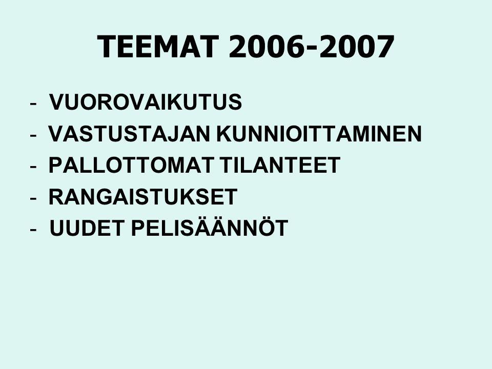 TEEMAT 2006-2007 - VUOROVAIKUTUS -VASTUSTAJAN KUNNIOITTAMINEN -PALLOTTOMAT TILANTEET -RANGAISTUKSET - UUDET PELISÄÄNNÖT