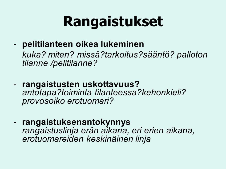 Rangaistukset -pelitilanteen oikea lukeminen kuka.