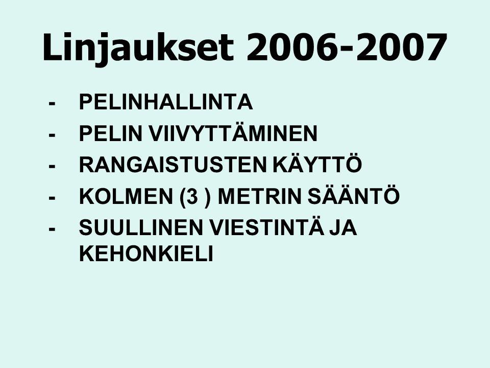 Linjaukset 2006-2007 -PELINHALLINTA - PELIN VIIVYTTÄMINEN -RANGAISTUSTEN KÄYTTÖ -KOLMEN (3 ) METRIN SÄÄNTÖ -SUULLINEN VIESTINTÄ JA KEHONKIELI