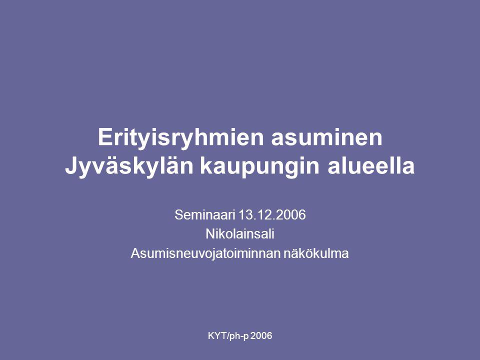 KYT/ph-p 2006 Erityisryhmien asuminen Jyväskylän kaupungin alueella Seminaari 13.12.2006 Nikolainsali Asumisneuvojatoiminnan näkökulma