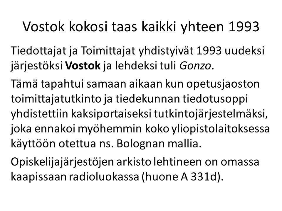 Vostok kokosi taas kaikki yhteen 1993 Tiedottajat ja Toimittajat yhdistyivät 1993 uudeksi järjestöksi Vostok ja lehdeksi tuli Gonzo.