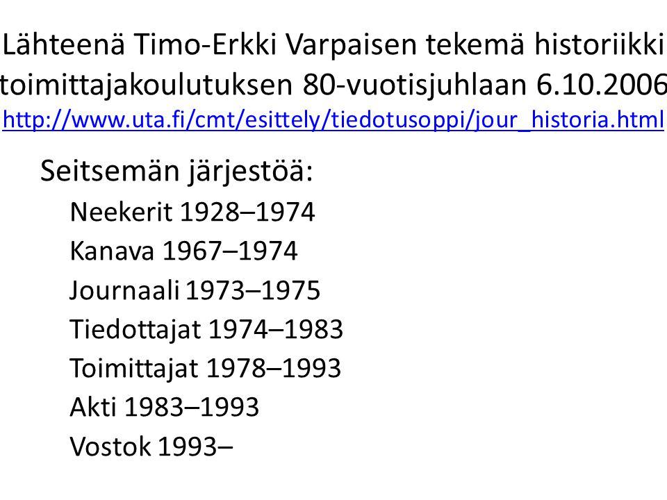 Lähteenä Timo-Erkki Varpaisen tekemä historiikki toimittajakoulutuksen 80-vuotisjuhlaan 6.10.2006 http://www.uta.fi/cmt/esittely/tiedotusoppi/jour_historia.html http://www.uta.fi/cmt/esittely/tiedotusoppi/jour_historia.html Seitsemän järjestöä: Neekerit 1928–1974 Kanava 1967–1974 Journaali 1973–1975 Tiedottajat 1974–1983 Toimittajat 1978–1993 Akti 1983–1993 Vostok 1993–