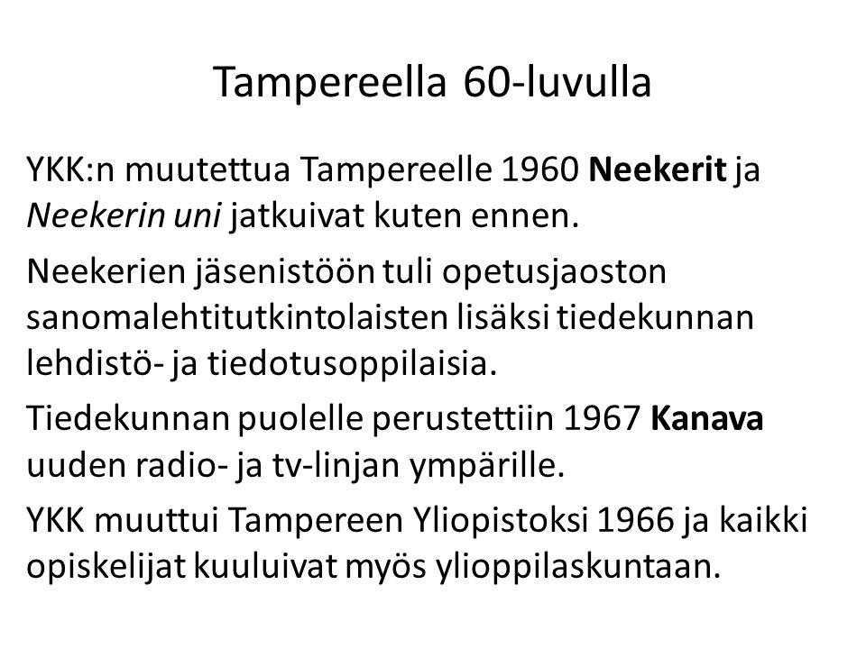 Tampereella 60-luvulla YKK:n muutettua Tampereelle 1960 Neekerit ja Neekerin uni jatkuivat kuten ennen.