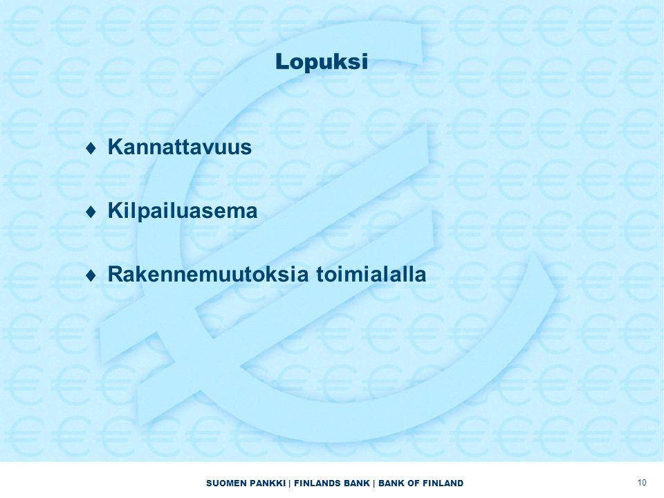 SUOMEN PANKKI | FINLANDS BANK | BANK OF FINLAND Lopuksi  Kannattavuus  Kilpailuasema  Rakennemuutoksia toimialalla 10