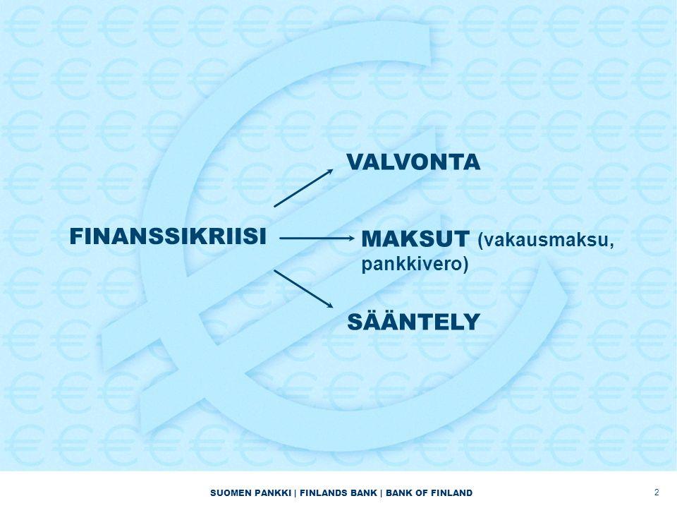 SUOMEN PANKKI | FINLANDS BANK | BANK OF FINLAND FINANSSIKRIISI 2 VALVONTA MAKSUT (vakausmaksu, pankkivero) SÄÄNTELY