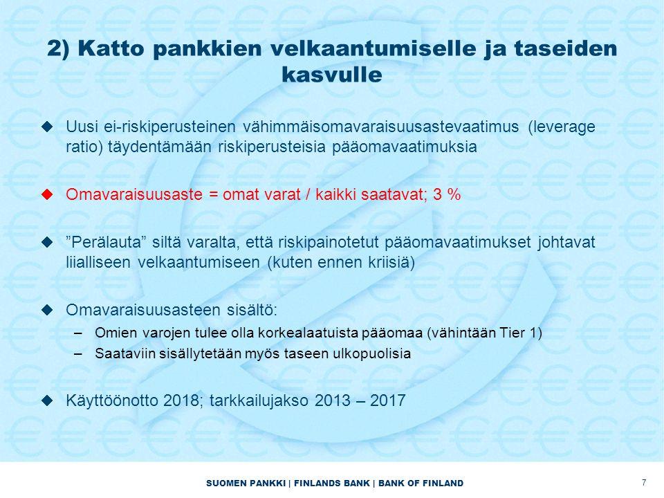 SUOMEN PANKKI | FINLANDS BANK | BANK OF FINLAND 2) Katto pankkien velkaantumiselle ja taseiden kasvulle  Uusi ei-riskiperusteinen vähimmäisomavaraisuusastevaatimus (leverage ratio) täydentämään riskiperusteisia pääomavaatimuksia  Omavaraisuusaste = omat varat / kaikki saatavat; 3 %  Perälauta siltä varalta, että riskipainotetut pääomavaatimukset johtavat liialliseen velkaantumiseen (kuten ennen kriisiä)  Omavaraisuusasteen sisältö: –Omien varojen tulee olla korkealaatuista pääomaa (vähintään Tier 1) –Saataviin sisällytetään myös taseen ulkopuolisia  Käyttöönotto 2018; tarkkailujakso 2013 – 2017 7