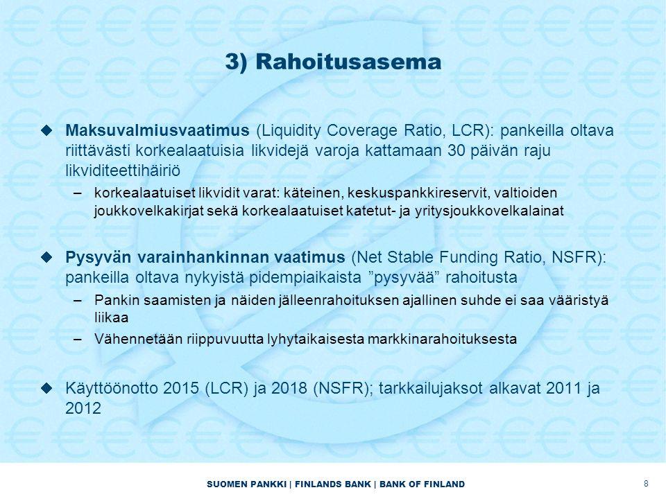 SUOMEN PANKKI | FINLANDS BANK | BANK OF FINLAND 3) Rahoitusasema  Maksuvalmiusvaatimus (Liquidity Coverage Ratio, LCR): pankeilla oltava riittävästi korkealaatuisia likvidejä varoja kattamaan 30 päivän raju likviditeettihäiriö –korkealaatuiset likvidit varat: käteinen, keskuspankkireservit, valtioiden joukkovelkakirjat sekä korkealaatuiset katetut- ja yritysjoukkovelkalainat  Pysyvän varainhankinnan vaatimus (Net Stable Funding Ratio, NSFR): pankeilla oltava nykyistä pidempiaikaista pysyvää rahoitusta –Pankin saamisten ja näiden jälleenrahoituksen ajallinen suhde ei saa vääristyä liikaa –Vähennetään riippuvuutta lyhytaikaisesta markkinarahoituksesta  Käyttöönotto 2015 (LCR) ja 2018 (NSFR); tarkkailujaksot alkavat 2011 ja 2012 8