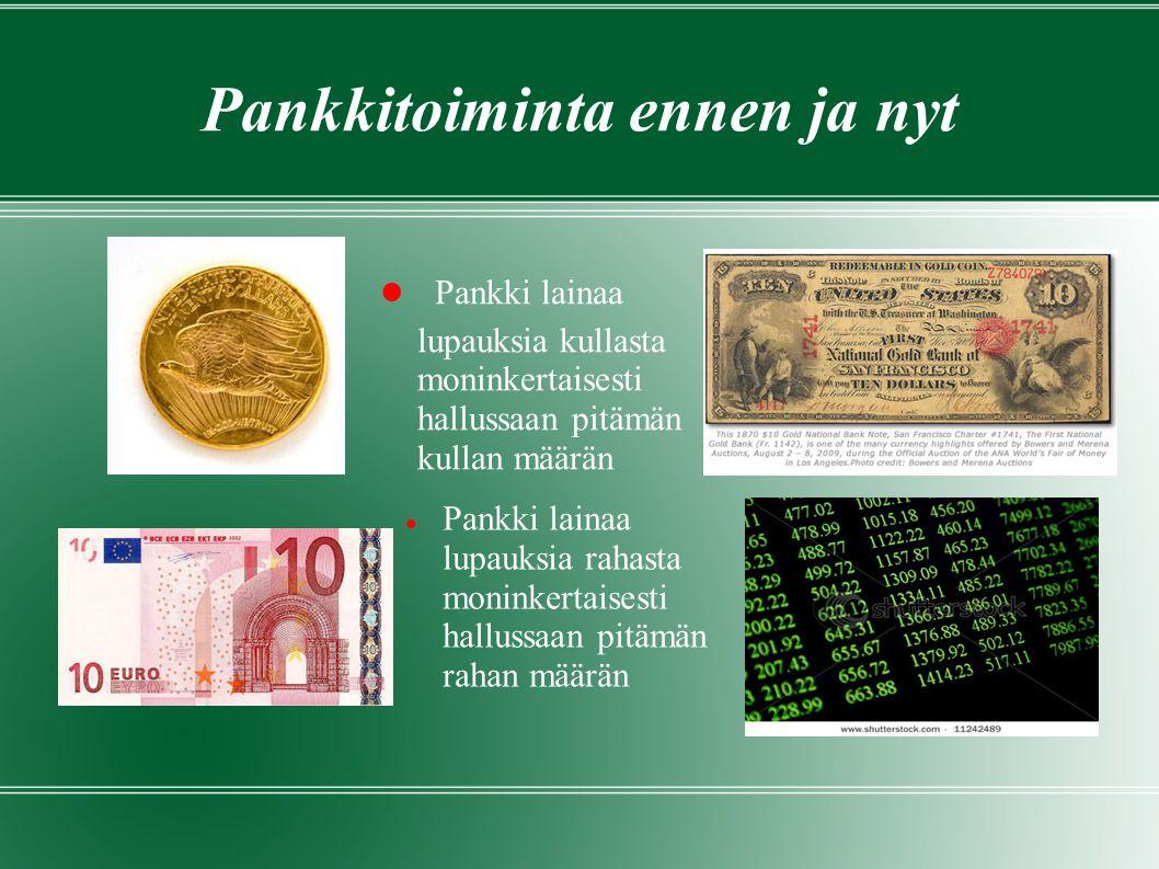 Pankkitoiminta ennen ja nyt  Pankki lainaa lupauksia kullasta moninkertaisesti hallussaan pitämän kullan määrän  Pankki lainaa lupauksia rahasta moninkertaisesti hallussaan pitämän rahan määrän