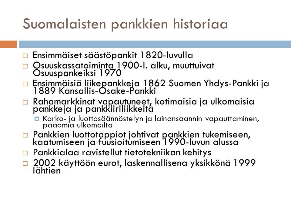 Suomalaisten pankkien historiaa  Ensimmäiset säästöpankit 1820-luvulla  Osuuskassatoiminta 1900-l.