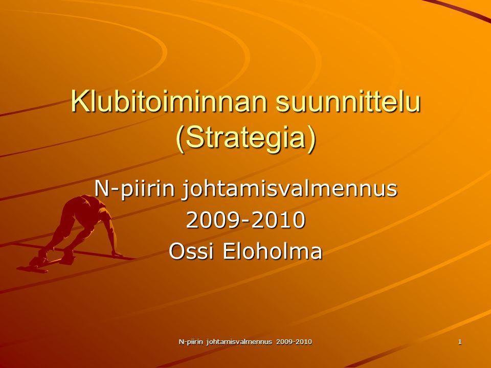 N-piirin johtamisvalmennus 2009-2010 1 Klubitoiminnan suunnittelu (Strategia) N-piirin johtamisvalmennus 2009-2010 Ossi Eloholma