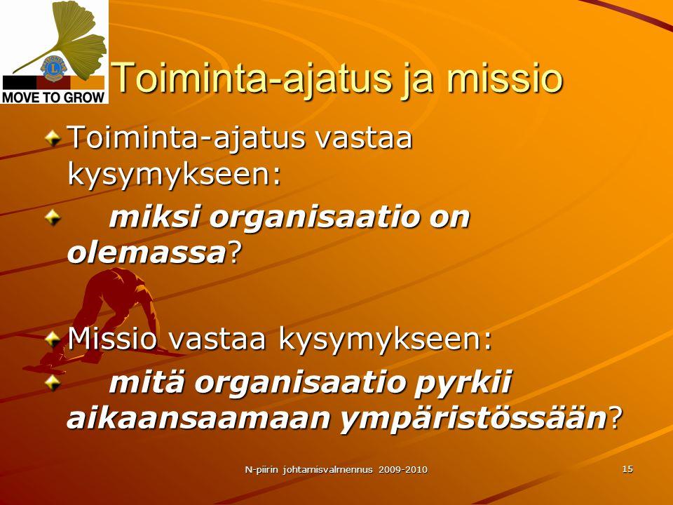 N-piirin johtamisvalmennus 2009-2010 15 Toiminta-ajatus ja missio Toiminta-ajatus vastaa kysymykseen: miksi organisaatio on olemassa.