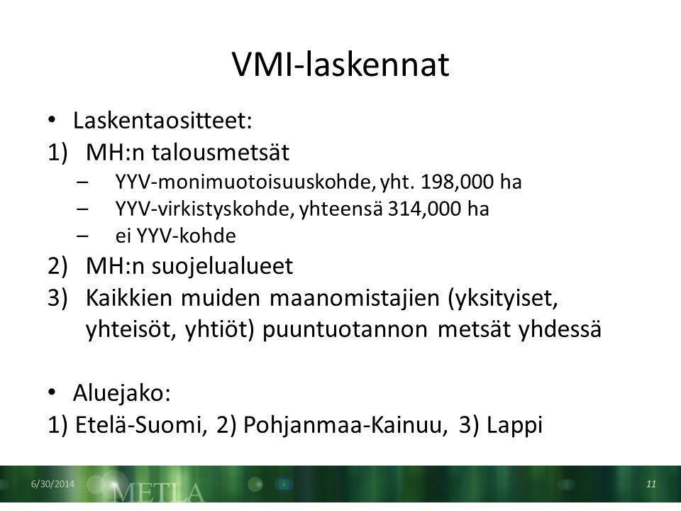 VMI-laskennat 6/30/2014 11 • Laskentaositteet: 1)MH:n talousmetsät –YYV-monimuotoisuuskohde, yht.