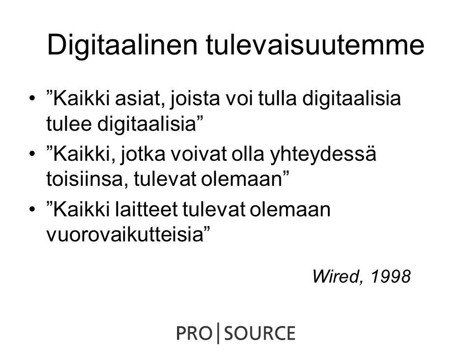 Digitaalinen tulevaisuutemme • Kaikki asiat, joista voi tulla digitaalisia tulee digitaalisia • Kaikki, jotka voivat olla yhteydessä toisiinsa, tulevat olemaan • Kaikki laitteet tulevat olemaan vuorovaikutteisia Wired, 1998