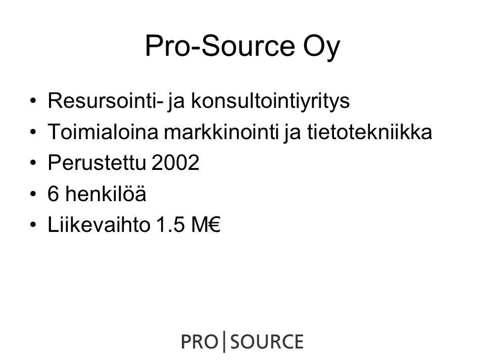 Pro-Source Oy •Resursointi- ja konsultointiyritys •Toimialoina markkinointi ja tietotekniikka •Perustettu 2002 •6 henkilöä •Liikevaihto 1.5 M€