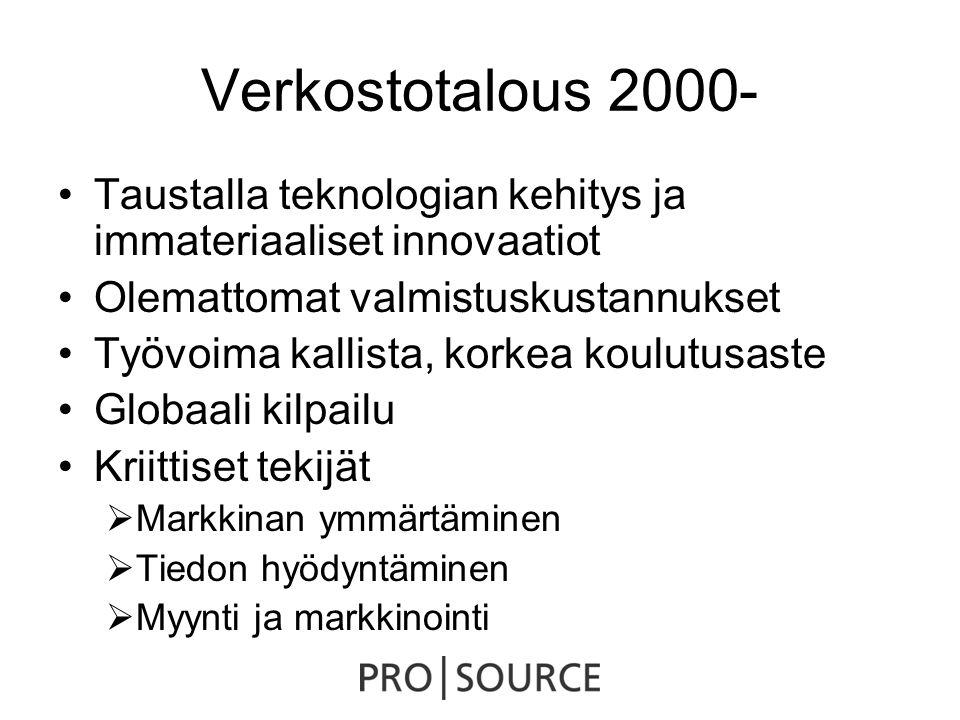 Verkostotalous 2000- •Taustalla teknologian kehitys ja immateriaaliset innovaatiot •Olemattomat valmistuskustannukset •Työvoima kallista, korkea koulutusaste •Globaali kilpailu •Kriittiset tekijät  Markkinan ymmärtäminen  Tiedon hyödyntäminen  Myynti ja markkinointi