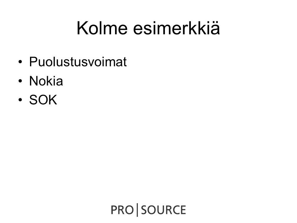 Kolme esimerkkiä •Puolustusvoimat •Nokia •SOK