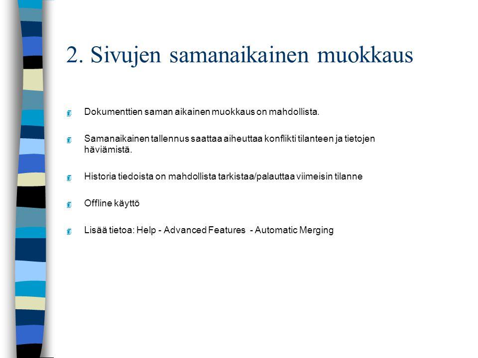 2. Sivujen samanaikainen muokkaus 4 Dokumenttien saman aikainen muokkaus on mahdollista.
