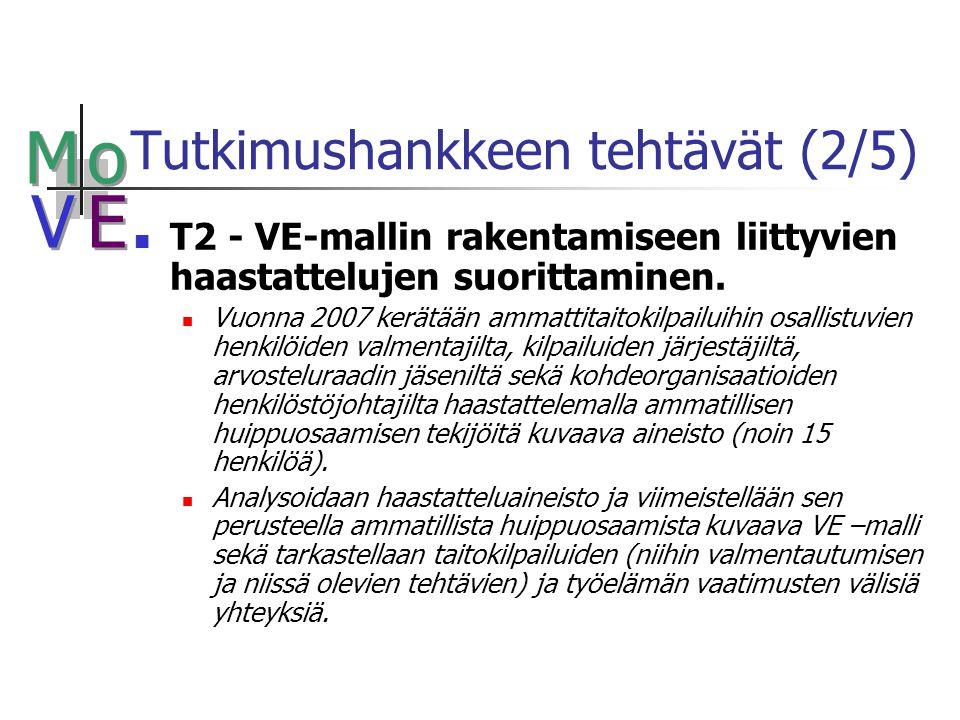 M M o o V V E E Tutkimushankkeen tehtävät (2/5) T2 - VE-mallin rakentamiseen liittyvien haastattelujen suorittaminen.