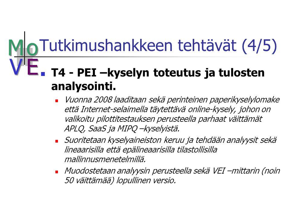 M M o o V V E E Tutkimushankkeen tehtävät (4/5) T4 - PEI –kyselyn toteutus ja tulosten analysointi.