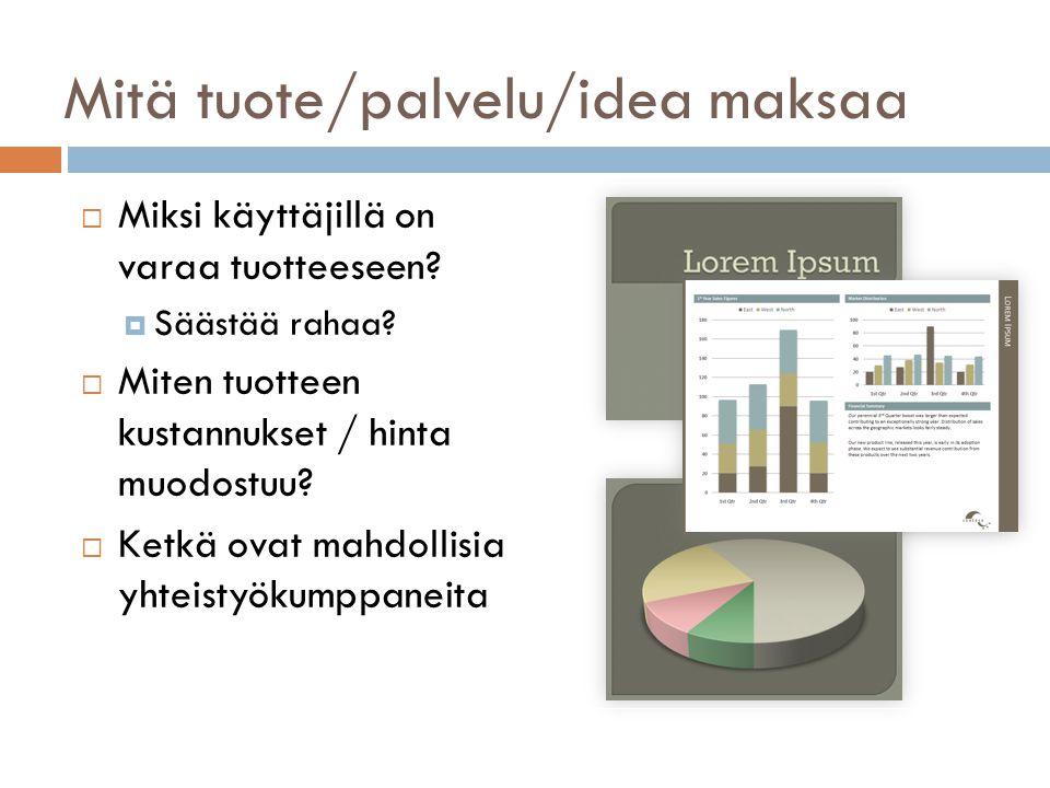 Mitä tuote/palvelu/idea maksaa  Miksi käyttäjillä on varaa tuotteeseen.