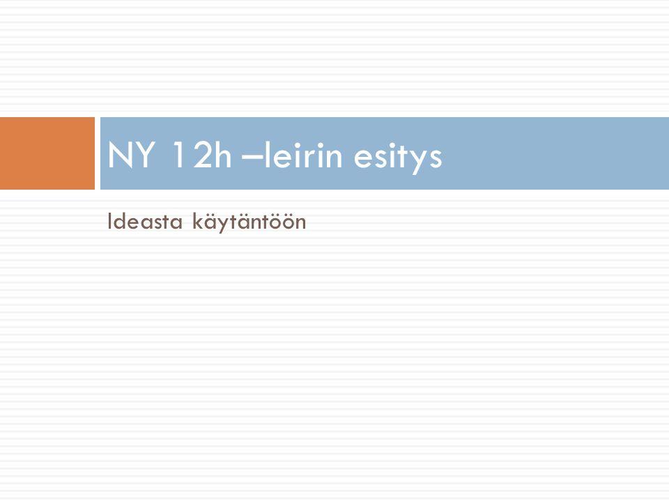 Ideasta käytäntöön NY 12h –leirin esitys2008