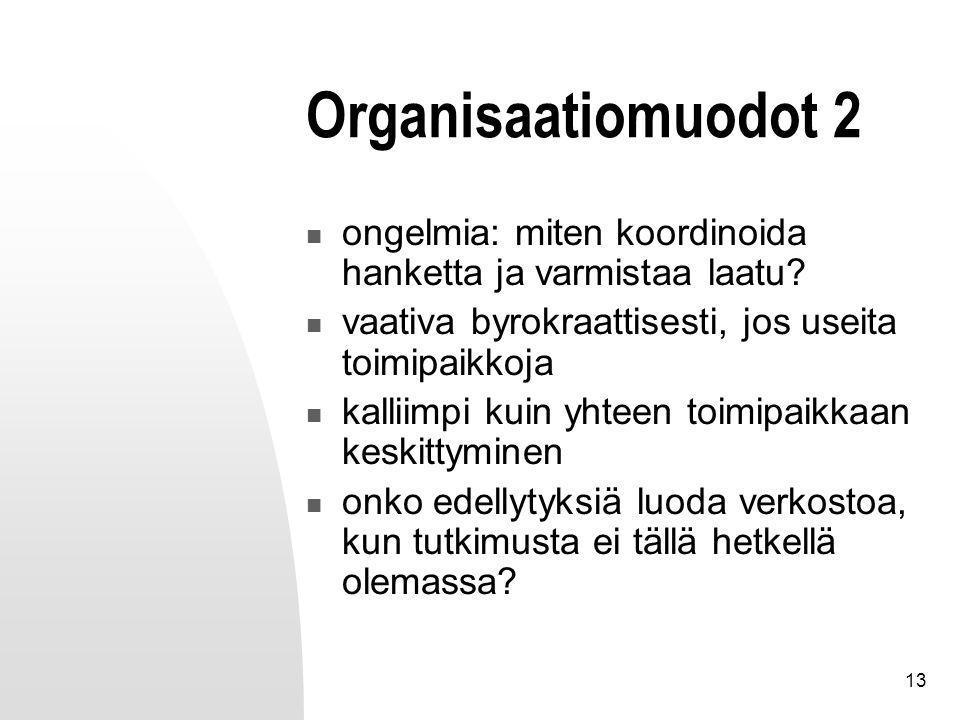 13 Organisaatiomuodot 2 ongelmia: miten koordinoida hanketta ja varmistaa laatu.