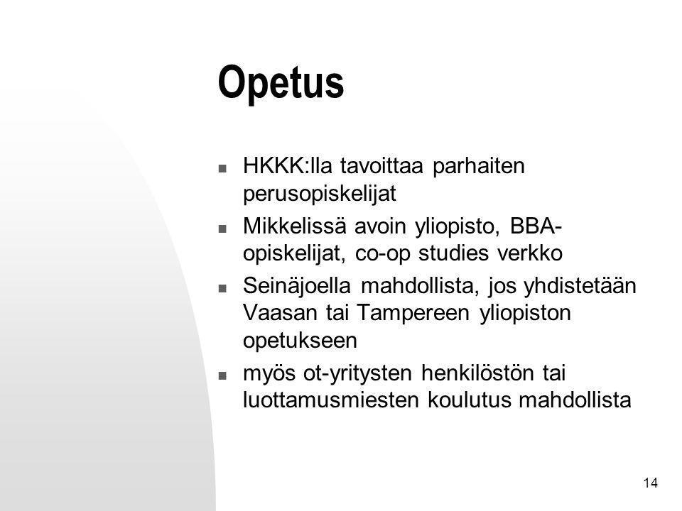 14 Opetus HKKK:lla tavoittaa parhaiten perusopiskelijat Mikkelissä avoin yliopisto, BBA- opiskelijat, co-op studies verkko Seinäjoella mahdollista, jos yhdistetään Vaasan tai Tampereen yliopiston opetukseen myös ot-yritysten henkilöstön tai luottamusmiesten koulutus mahdollista