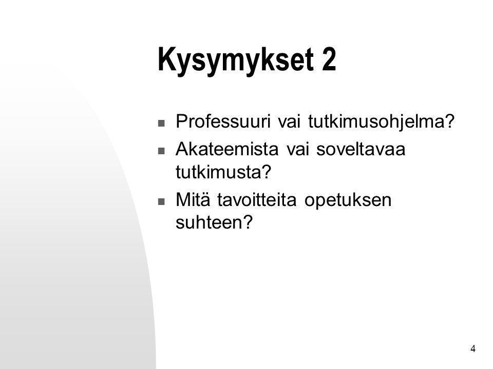 4 Kysymykset 2 Professuuri vai tutkimusohjelma. Akateemista vai soveltavaa tutkimusta.