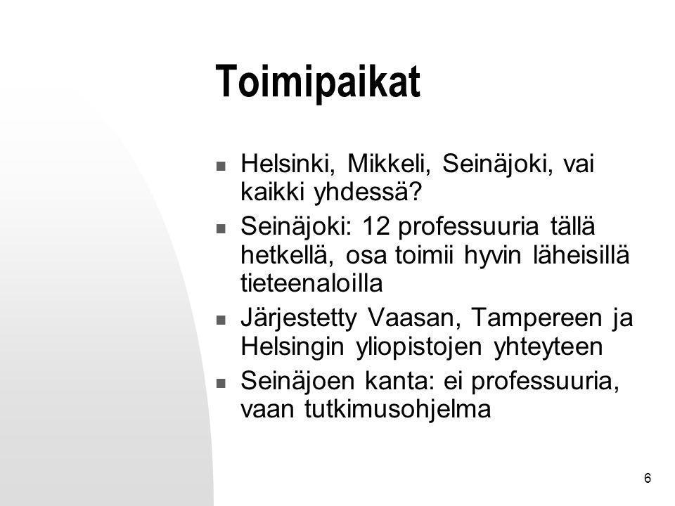 6 Toimipaikat Helsinki, Mikkeli, Seinäjoki, vai kaikki yhdessä.