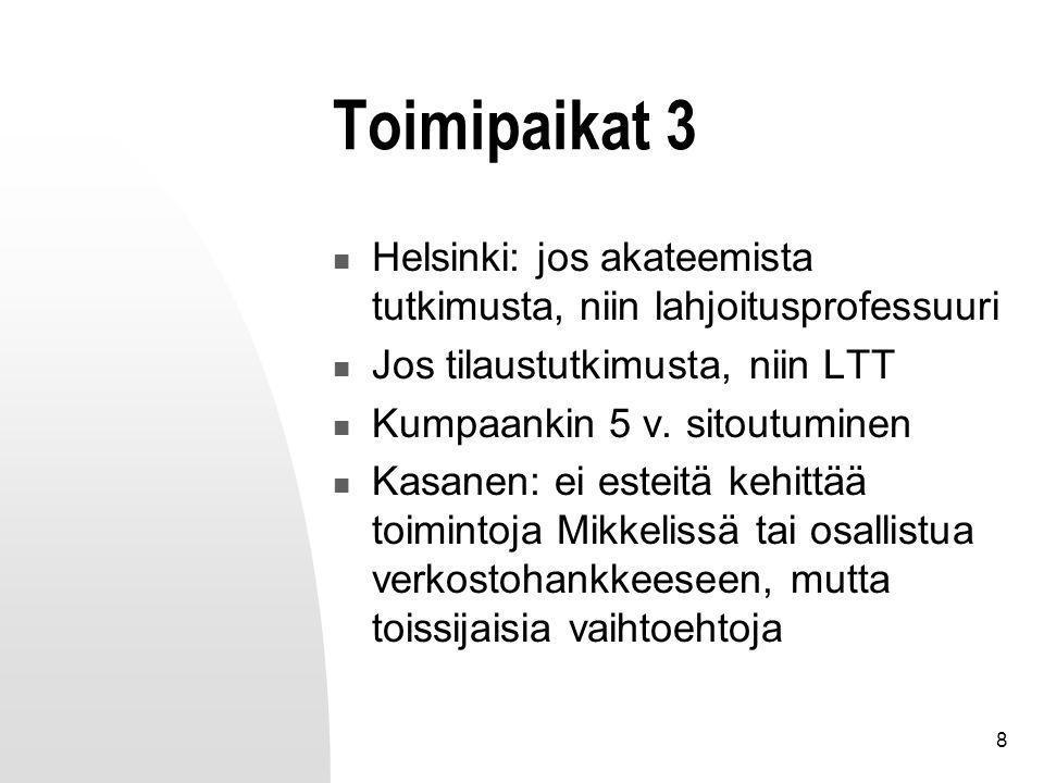 8 Toimipaikat 3 Helsinki: jos akateemista tutkimusta, niin lahjoitusprofessuuri Jos tilaustutkimusta, niin LTT Kumpaankin 5 v.