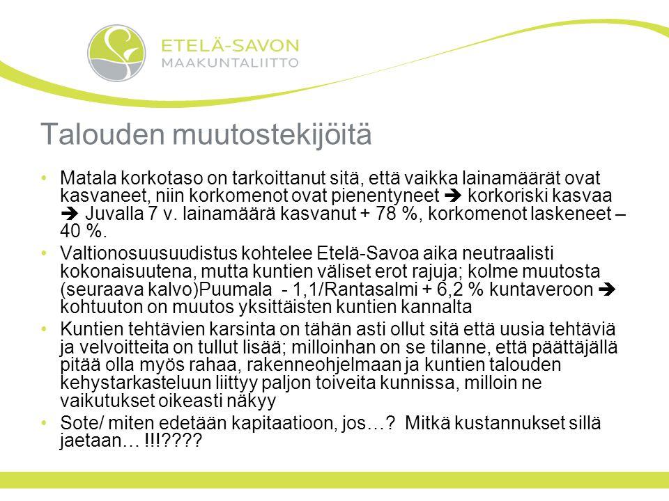 Talouden muutostekijöitä Matala korkotaso on tarkoittanut sitä, että vaikka lainamäärät ovat kasvaneet, niin korkomenot ovat pienentyneet  korkoriski kasvaa  Juvalla 7 v.
