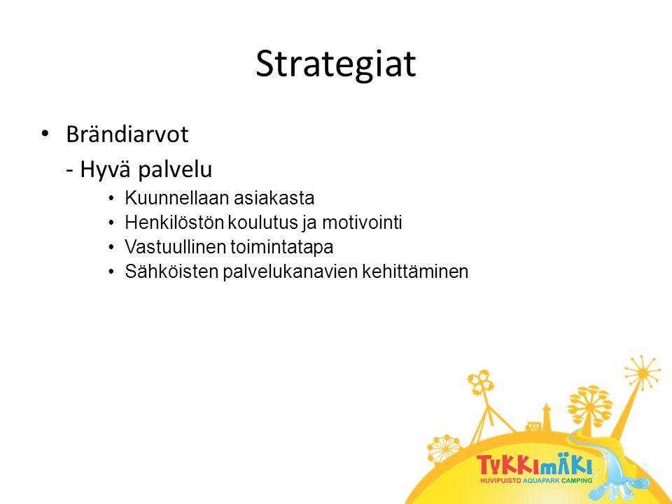 Strategiat • Brändiarvot - Hyvä palvelu •Kuunnellaan asiakasta •Henkilöstön koulutus ja motivointi •Vastuullinen toimintatapa •Sähköisten palvelukanavien kehittäminen