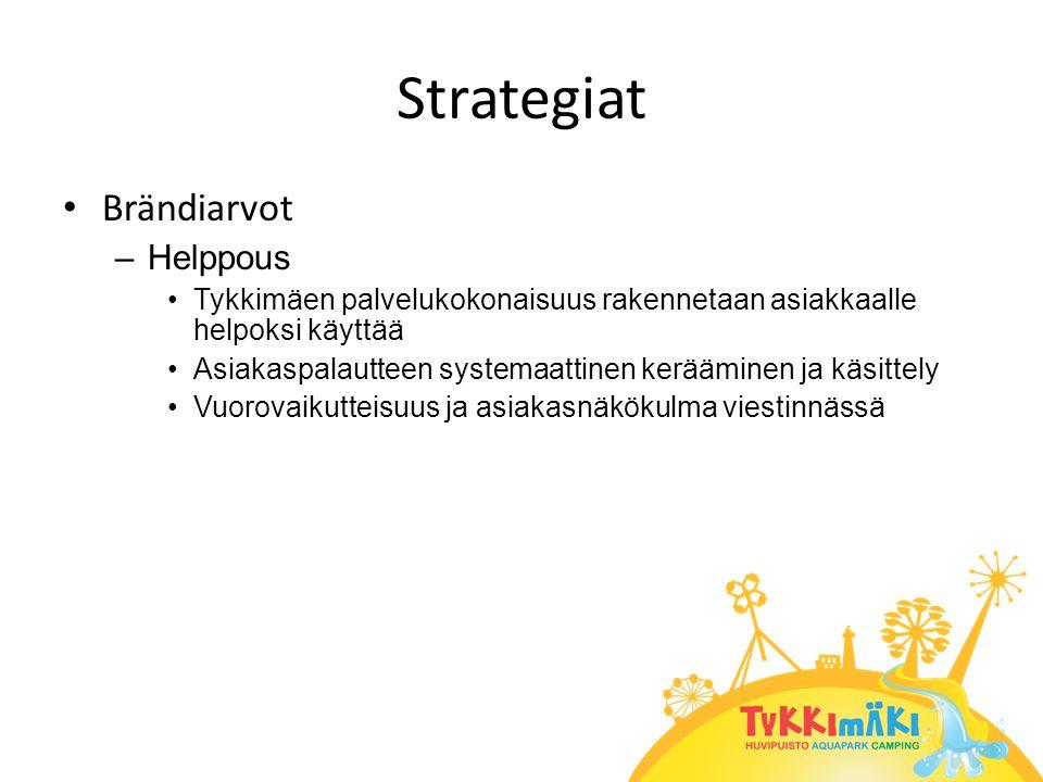 Strategiat • Brändiarvot –Helppous •Tykkimäen palvelukokonaisuus rakennetaan asiakkaalle helpoksi käyttää •Asiakaspalautteen systemaattinen kerääminen ja käsittely •Vuorovaikutteisuus ja asiakasnäkökulma viestinnässä