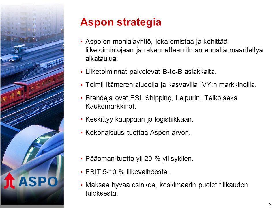 2 Aspon strategia •Aspo on monialayhtiö, joka omistaa ja kehittää liiketoimintojaan ja rakennettaan ilman ennalta määriteltyä aikataulua.