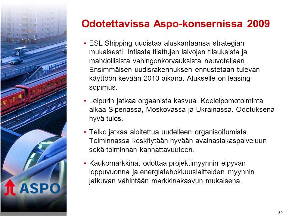 39 Odotettavissa Aspo-konsernissa 2009 •ESL Shipping uudistaa aluskantaansa strategian mukaisesti.