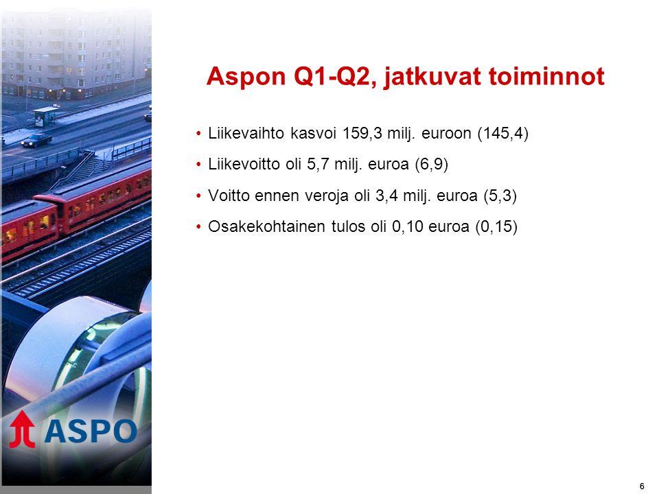 66 Aspon Q1-Q2, jatkuvat toiminnot •Liikevaihto kasvoi 159,3 milj.
