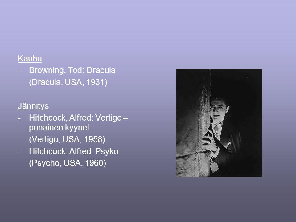 Kauhu -Browning, Tod: Dracula (Dracula, USA, 1931) Jännitys -Hitchcock, Alfred: Vertigo – punainen kyynel (Vertigo, USA, 1958) -Hitchcock, Alfred: Psyko (Psycho, USA, 1960)