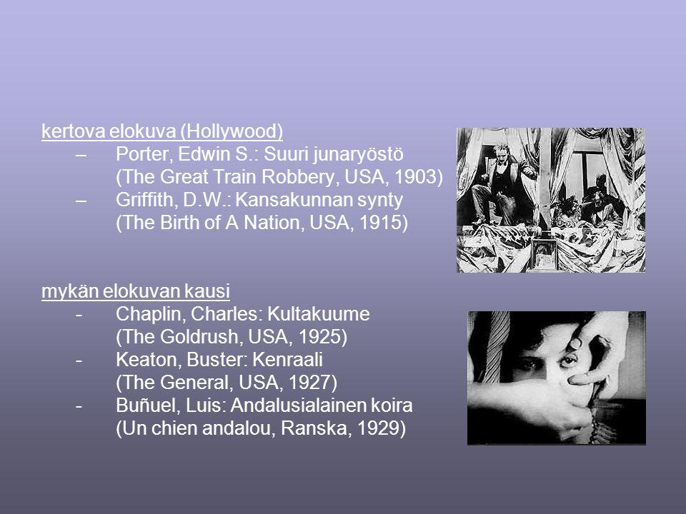 kertova elokuva (Hollywood) –Porter, Edwin S.: Suuri junaryöstö (The Great Train Robbery, USA, 1903) –Griffith, D.W.: Kansakunnan synty (The Birth of A Nation, USA, 1915) mykän elokuvan kausi -Chaplin, Charles: Kultakuume (The Goldrush, USA, 1925) -Keaton, Buster: Kenraali (The General, USA, 1927) -Buñuel, Luis: Andalusialainen koira (Un chien andalou, Ranska, 1929)
