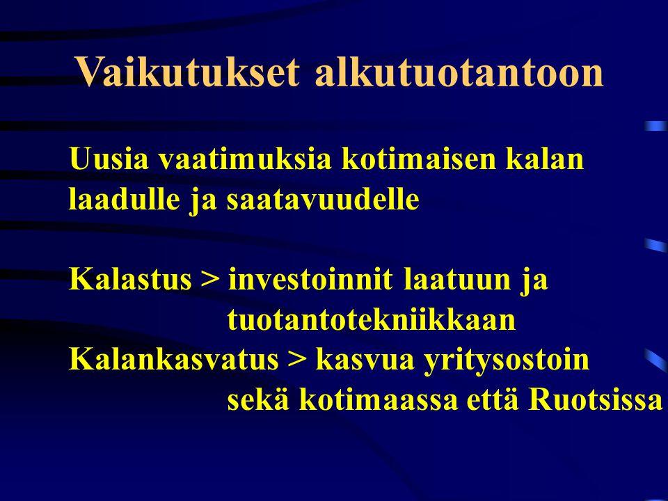Vaikutukset alkutuotantoon Uusia vaatimuksia kotimaisen kalan laadulle ja saatavuudelle Kalastus > investoinnit laatuun ja tuotantotekniikkaan Kalankasvatus > kasvua yritysostoin sekä kotimaassa että Ruotsissa
